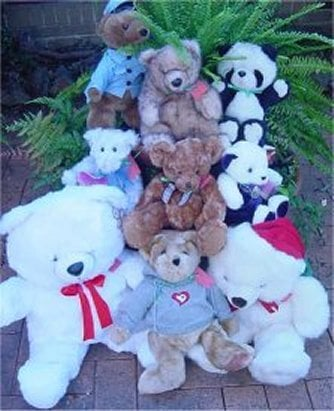 Some of the 5000 teddies given to children affected by the bushfires of 2003